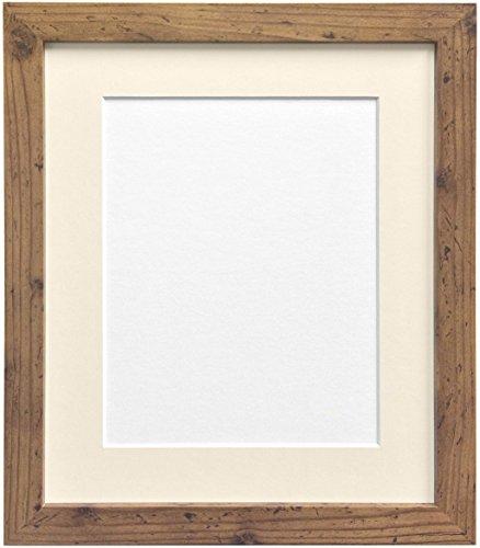 Frames by Post H7Bilderrahmen Eiche rustikal Breite 25mm 25mm breit mit Schwarz, Weiß, Elfenbein, Rosa und Hellblau Grau Passepartout, Holz, Elfenbeinfarben, A2 Pic Size A3