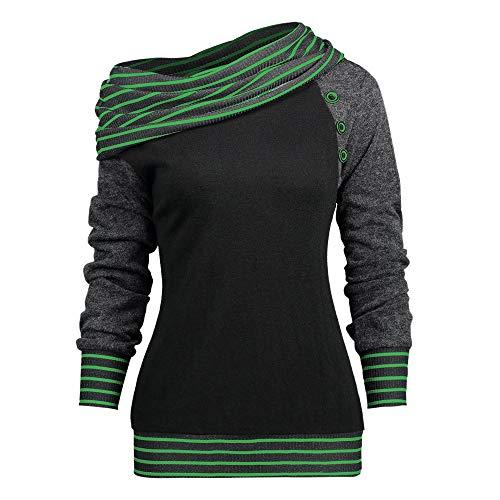 Btruely Pullover Damen Winter Gestreiftes Langarmshirt Frauen Sweatshirt Herbst Oberteile Groß Größe T-Shirt