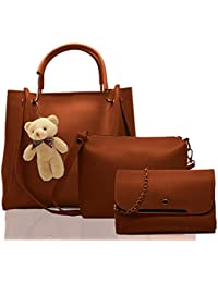 Fargo PU Leather Latest Stylish Handbags For Women's Ladies Combo Of 3 (Brown_Teddy_FGO-240)