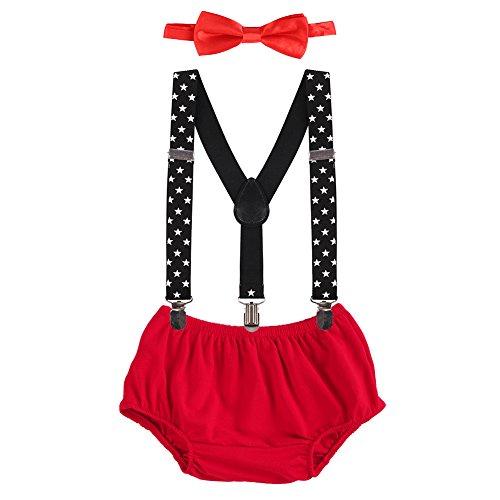 Prinzessin Kostüm Teenager Disney - OBEEII Baby 1. / 2. Geburtstag Outfit Neugeborenen Kinder Bloomer Shorts + Fliege + Clip-on Hosenträger 3pcs Bekleidungssets für Foto-Shooting Kostüm Rot & Stern