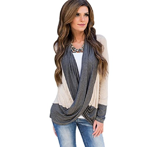 OverDose Damen Frauen Unregelmäßige Splice Baumwollmischung Langarm V-Ausschnitt lose T Shirts Tops Bluse (S, Khaki)
