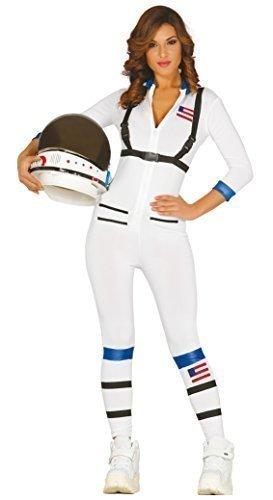 Damen Sexy weiß Astronaut Fach American Kostüm Kleid Outfit M/L ()