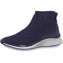 Tamaris Femme Baskets Mode 25403-23, Dame Chaussures Basse,Slip-on,Chaussures de Sport,flâneur,Pantoufles,élastique,Navy,38 EU / 5 UK