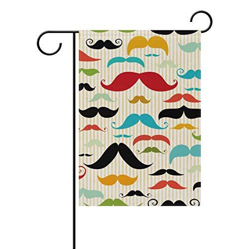 JIRT Gartenflagge, 30,5 x 45,7 cm, süßes buntes Schnurrbart-Muster, doppelseitig, Polyester Banner für drinnen und draußen, Dekoration für Rasen und Hof, 30,5 x 45,7 cm, Image 229, 12x18(in)