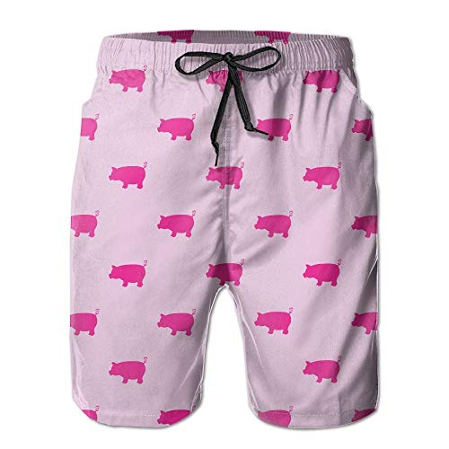 Nacasu Pink Pigs Pattern Men's Summer Beach Quick-Dry Surf Swim Trunks Boardshorts Cargo Pants XXL