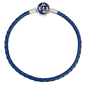 EMEMcharm Armband Silber Leder passen Pandora Charm – Blau GM02