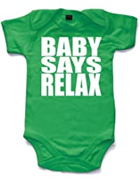 Baby says relax printed short sleeved babygrow onesie in 8 colours and 4 sizes