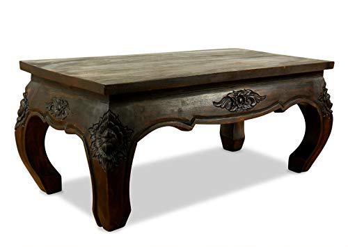 Asiatische Wohnzimmer Beistelltisch (livasia Opiumtisch, Couchtisch 80x40cm mit Schnitzerei, Beistelltisch, Sofatisch (Dunkelbraun))