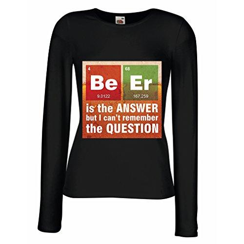 Manches Longues Femme T-Shirt La Bière est la Réponse (X-Large Noir Multicolore)
