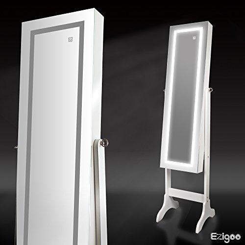 Ezigoo Spiegel Schmuckschrank Beleuchtet mit Touchscreen LED Licht - Schmuckregal mit Ganzkörperspiegel - 4