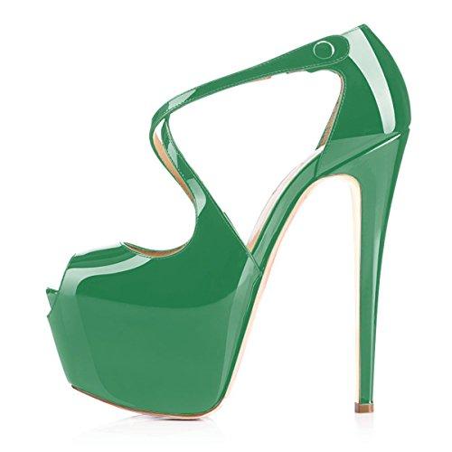 uBeauty Femme Sandales Plateforme Talons Escarpins Cross laçage Grande Taille Chaussures Open Toe Vert