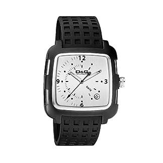 Dolce & Gabbana E 3H IP BLK Frame SLV DIAL BLK Strap DW0361 – Reloj de Caballero de Cuarzo (japonés), Correa de Caucho Color Negro