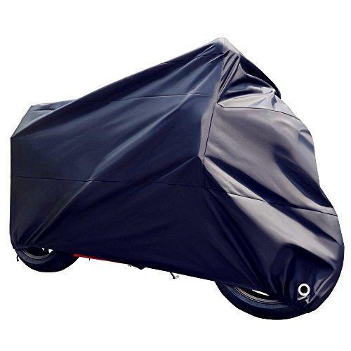 Audel Motorradabdeckung Motorrad Garage 190T Abdeckplane Schutzhülle (Wasserdicht, Staublicht, UV-Schutz) Größe XL schwarz