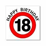 A-Z Store Geburtstagsschild 45x45cm Verkehrs- Verbotszeichenschild Happy Birthday zum 18. Geburtstag