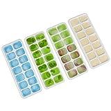 Volenx Eiswürfelschale mit Deckel 4 Stück, Flexible Eiswürfelform Silikon 14-Eiswürfel Eiswürfelformen, Eiswürfelbereiter für Wein, Wasser, Babynahrung und DIY Cool Drink (Blau & Grün)