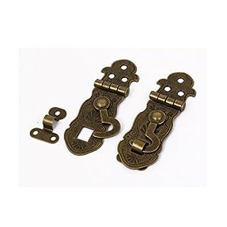 sourcingmap® Antique Style Case Lock Chest Box Clasp Hasp Latch Bronze Tone 2pcs