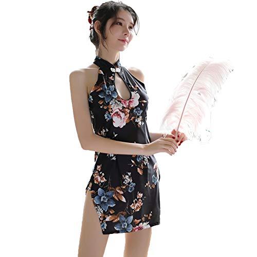 Sexy chinesisches Cheongsam Kostüm, Sexy Dessous für Damen, High Split Nightgown Dress Dress Printed - Chinesisch Cheongsam Kostüm