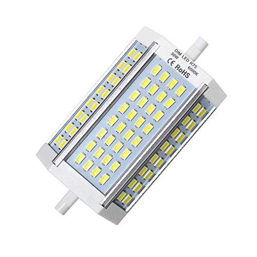 R7s LED Leuchtmittel, R7s LED 118mm Birne Dimmbar Lampe, 30W J118 J Typ 200-250W Halogen Glühlampen Ersatz, Kühl Weiß 6000K Linear Leuchtmittel, AC 230V, 2500LM, 120 Grad (1er-Pack) -