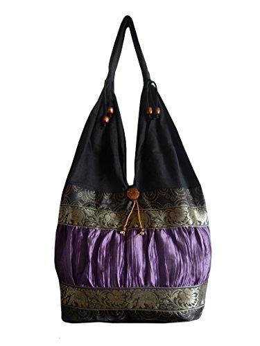 Schultertasche aus Baumwolle / Seide mit Elefanten, Blumen und Kringel Muster, schwarz / violett, 30 x 15 x 27 cm (l x b x h), Gesamthöhe: 60 cm (Seide Gestickte Handtasche)