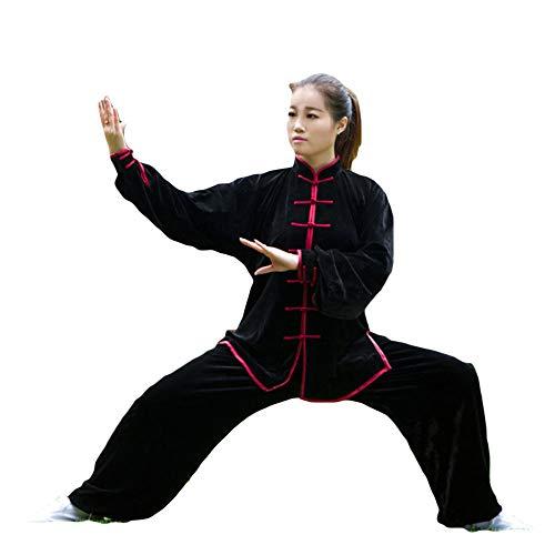 Tai Chi Kleidung New Damen Gold Samt Herbst Und Winter Verdickung Trainingskleidung Mittleren Alters Tai Chi Kleidung Herren Winter Martial Arts Kleidung,Black-Red-M