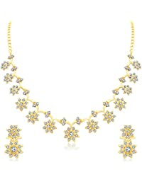 Sukkhi Glossy Gold Plated Wedding Jewellery Austrian Diamond Necklace Set For Women (N71439GLDPAP600)