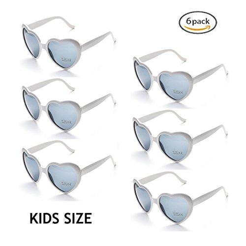 Onnea 6 Stücke Herzform Party Favorisiert Sonnenbrillen für Kinder (6er-Pack Weiß)