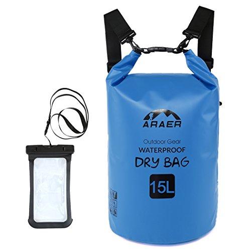 Bolsa Seca Impermeable,Bolsas Estancas PVC Ajustable de Araer con Lateral Transparente Bolsillo Portátil para el Teléfono para Acampada,Canotaje,Kayak,Pesca,Rafting,Natación y Snowboard
