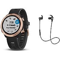 """Garmin GPS-Performance Laufuhr""""Forerunner 645M"""" Schwarz mit Rose Metall Luenette inkl. Musik Funktion und Bluetooth Headset"""