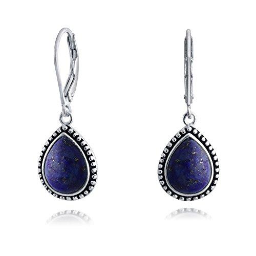 Bali Blue Lapis Lazuli Gerahmte Birnenförmig Teardrop Ohrringe Leverback Für Damen Oxidierten Sterlingsilber (Silber Ohrringe Screwback)