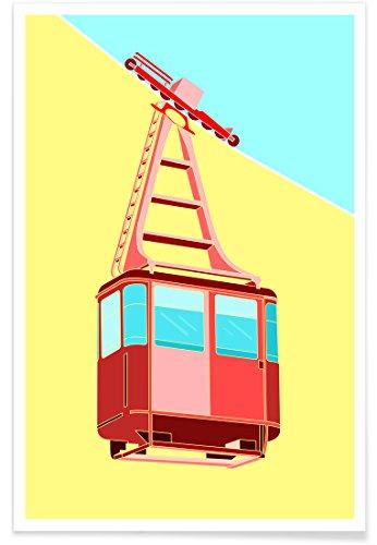 """JUNIQE® Poster 60x90cm Kinderzimmer & Kunst für Kinder Ski & Snowboard - Design """"Gondola"""" (Format: Hoch) - Bilder, Kunstdrucke & Prints von unabhängigen Künstlern entworfen von Jan Luzar"""