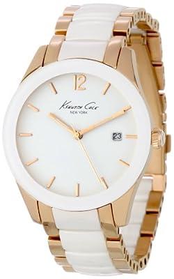 Reloj Kenneth Cole CERAMIC de mujer de cuarzo con correa de acero inoxidable blanca 20 cm - sumergible a 100 metros de Kenneth Cole