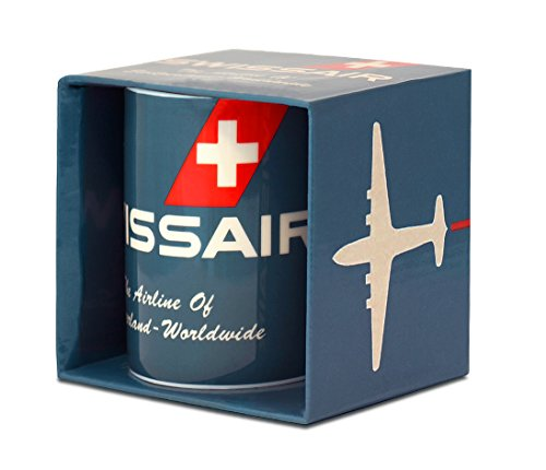 Airlines - Swissair - The Airline of Switzerland Porzellan Tasse - Kaffeebecher - blau - Lizenziertes Originaldesign - LOGOSHIRT (Airline-geschirr)