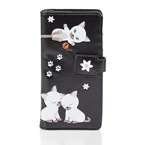 Shagwear portafoglio per giovani donne , large purse : diversi colori e design: (maliziosi gattino/ playful kittens)