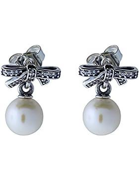 Pandora Damen-Ohrhänger 925 Silber Kristall transparent Perle Süßwasser-Zuchtperle Weiß - 290596P