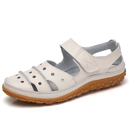 Z.SUO Sandales Femmes Plates Cuir Casuel Confort Mocassins Loafers Chaussures de Conduite La Mode Été Chaussures de Marche Tongs Sandales(38 EU,Beige)