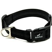 BLACKDOGGY collare classico cane solido fibbia di base di nylon animale domestico registrabile collare flessibile, la cattura di piombo e cablaggio disponibile separatamente (Nero)