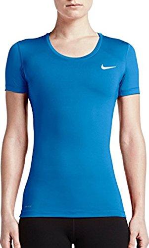 Nike Damen Oberbekleidung Pro Cool Shortsleeve Top, blau - hellblau, M (Nike Bekleidung Für Frauen Fitness-studio)
