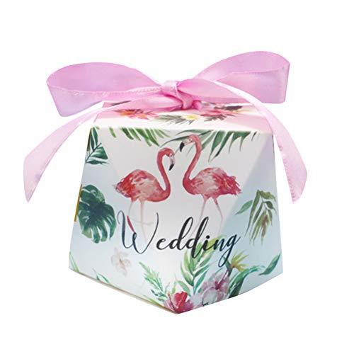 24 stücke Europäischen Kreative Flamingo Muster Hochzeit Gefälligkeiten Süßigkeitskästen Party Favors Geschenkbox Geschenk Taschen Süßigkeiten Taschen (Flamingo, Rosa Band