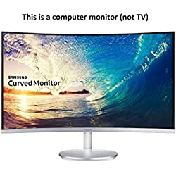 Samsung 27 inch (68.6 cm) Curved Bezel Less LED Backlit Computer Monitor - Full HD, VA Panel with VGA, HDMI, Display, Audio in, Heaphone Ports - LC27F591FDWXXL (Silver)
