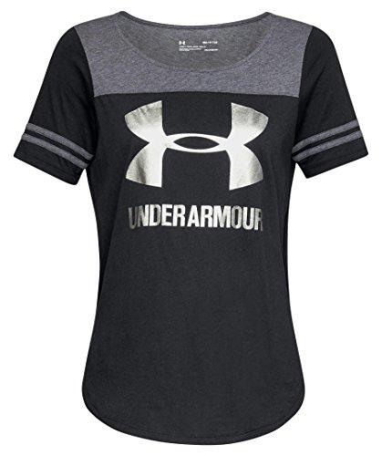 Under Armour Sportstyle Baseball T T-Shirt Femme, Black/Charcoal Medium Heather/Metallic Beige (003), FR : L (Taille Fabricant : L)