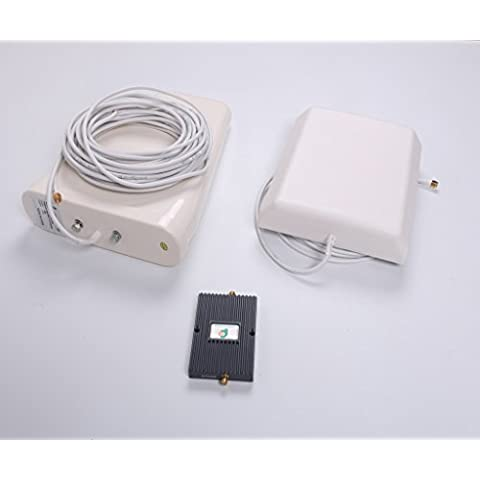 Proutone - Doble Frecuencia 900/2100MHz 65db GSM 2G 3G Amplificador de Señal Teléfono Celular Kit Amplificador de Señal Repetidor Amplificador con Panel Antena Interior y Antena de Logaritmo Antena con cable de 10M (Blanca Cable)