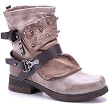 b5bc1fd0b3f18c Schuhtempel24 Damen Schuhe Klassische Stiefeletten Stiefel Boots  Blockabsatz Schnalle Nieten Ziersteine 4 cm