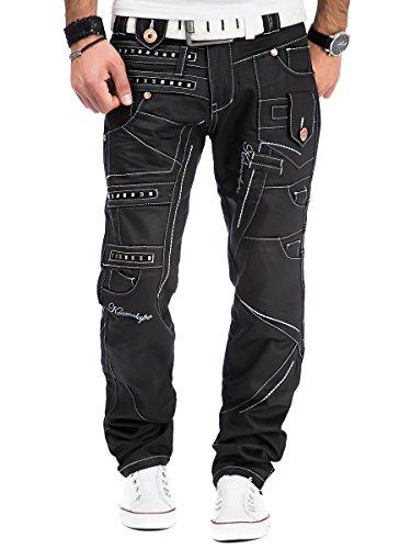 Kosmo Lupo Herren Jeans Denim Hose Japan Style Vintage Clubwear Chino Used Schwarz Schwarz - KM001-1