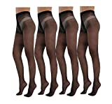 Yulaixuan Pantyhose for Women 4 Pairs Full Length Reinforced T Crotch Footed 15