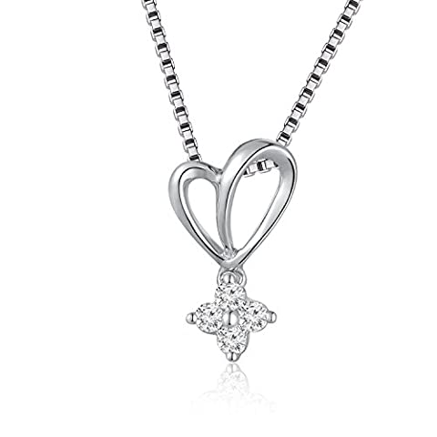 18ct White Gold Diamond Cross Heart Pendant on 925 Sterling Silver Chain (16 Inches) (0.11 cttw, K-L color, SI2-I2 Clarity) Women Jewellery Valentines Day Anniversary Wedding Gift