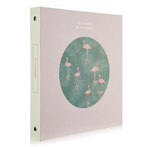 Woodmin Eingefügt Seite Foto Album 100 Pocket Hold 4x6 Fotos, Instax Picture Sammeln Buch mit einem Message-Box, Name-Karte, Memo ,Ticket Inhaber (Rosa Flamingo)