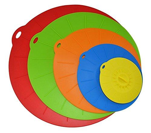 OurKosmos® aspiration Couvercle Ensemble de 5 tailles Covers 4,75 à 12 Joint Aspiration Bowl Couvercles Inch réutilisable en silicone vert vide pour Bols, pots, tasses. Food Safe (couleur aléatoire)