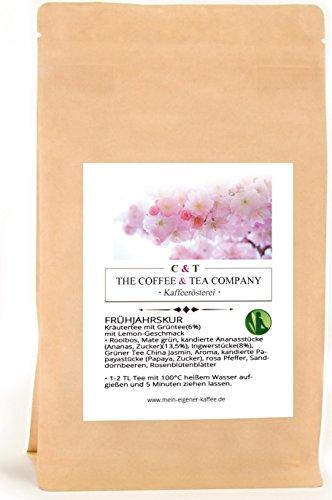 Kräutertee aromatisiert Frühjahrskur 250 g mit Ananas-Ingwer-Geschmack Nachfüllpack | Loser Tee im Kraftpapierbeutel
