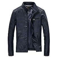 Nantersan Men's Leather Jacket Stand Collar Slim PU Mens Faux Fur Coats Motorcycle Jacket