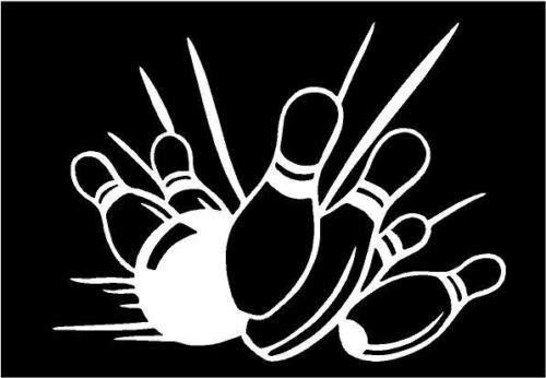 White Vinyl Decal - Bowling pins Bowl Ball Strike Fun Truck Sticker Sport, Die Cut Decal Bumper Sticker for Windows, Cars, Trucks, Laptops, Etc.